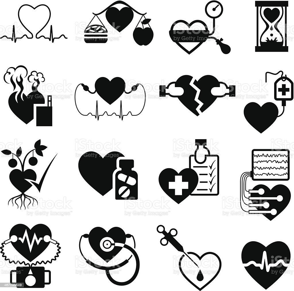 Heart Health Symbols vector art illustration
