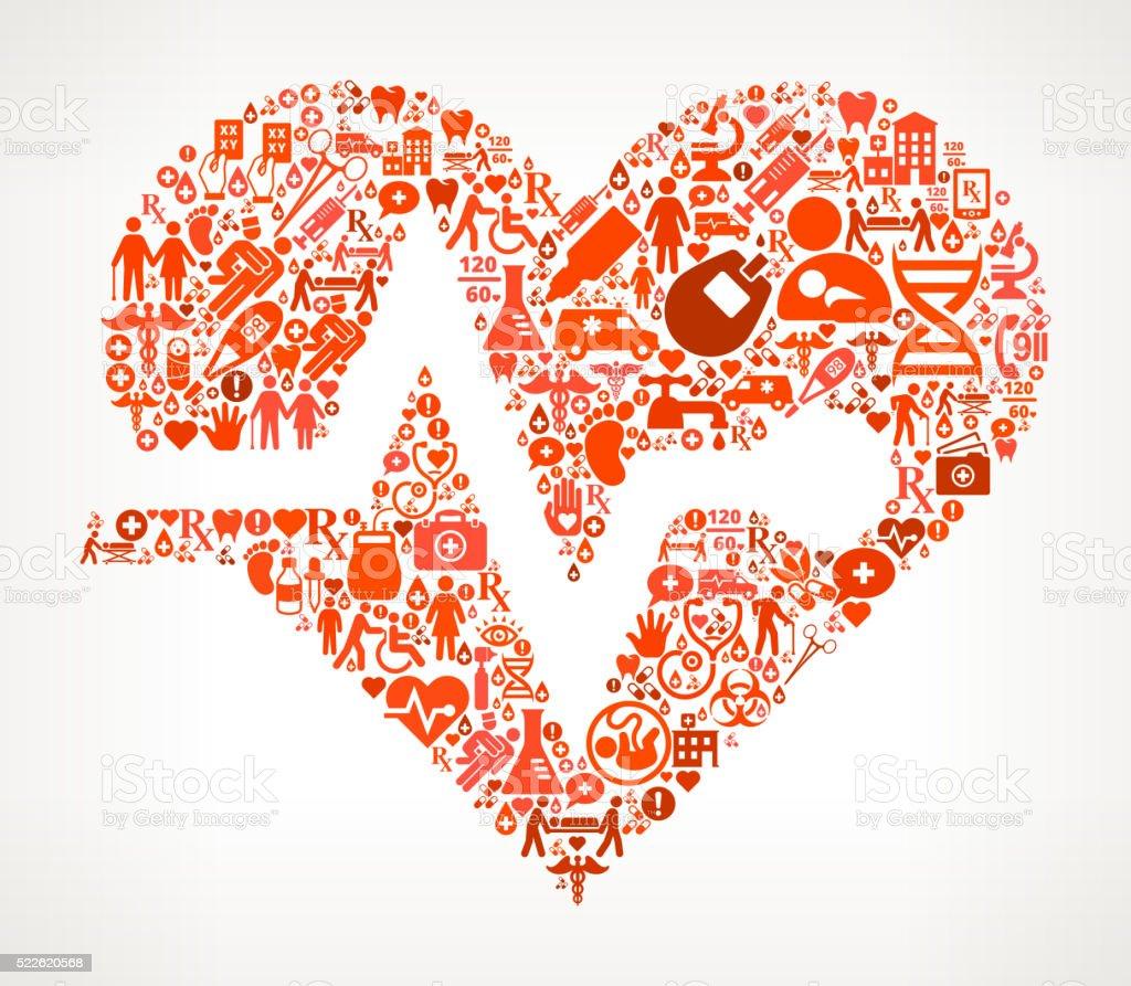 heart Healthcare and Medicine Seamless Icon Pattern vector art illustration