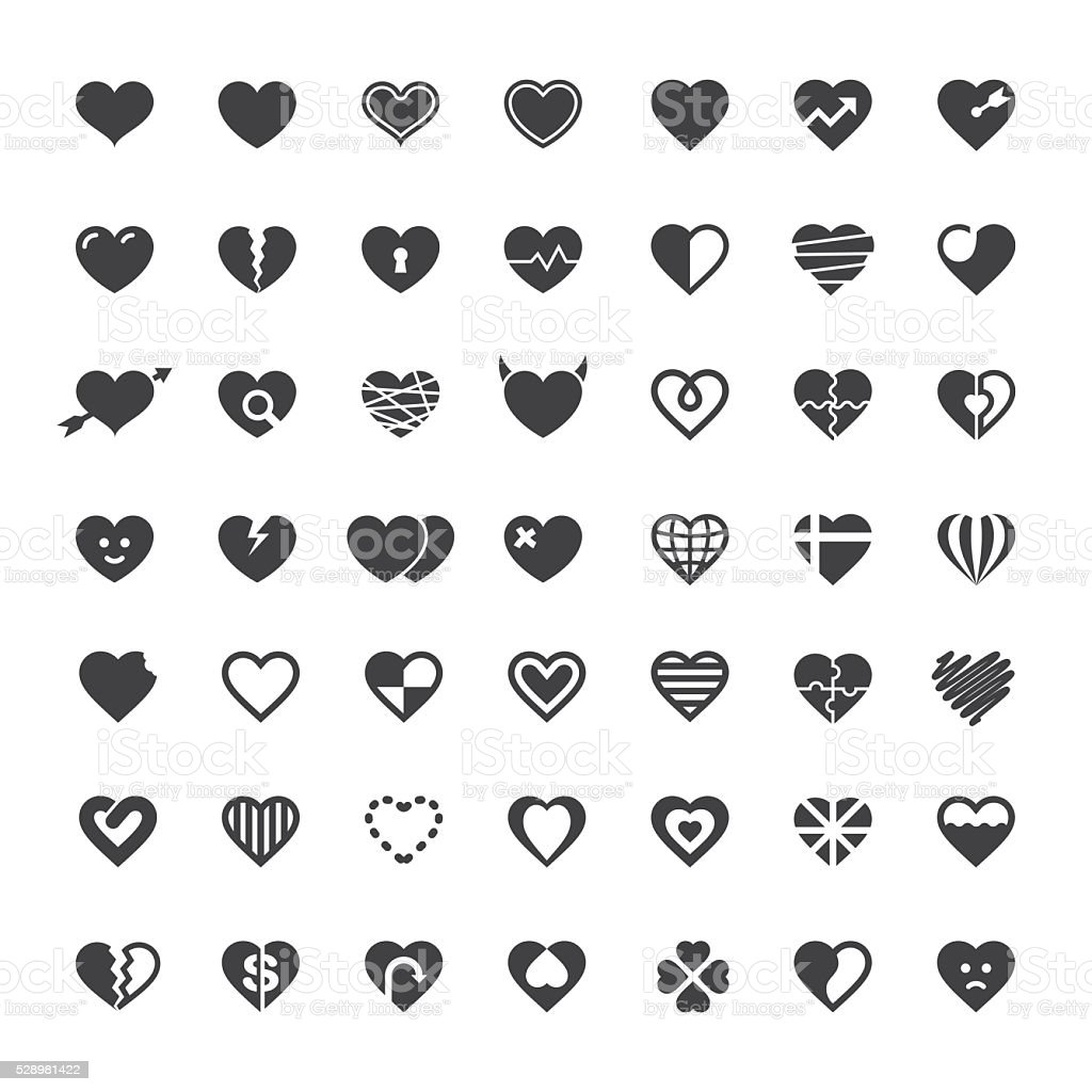 Heart Icon 49 Icons royalty-free stock vector art