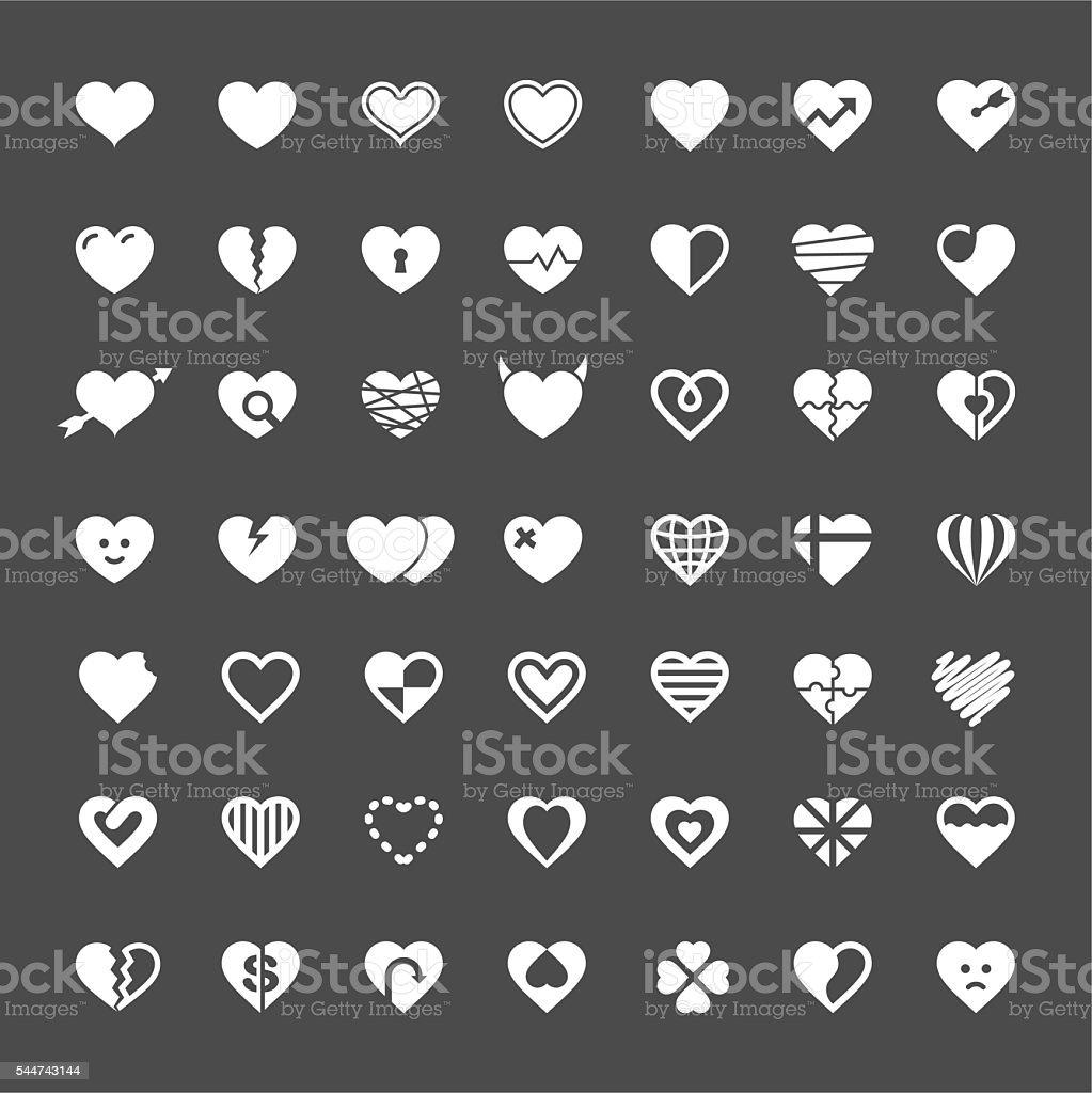 Heart Icon 49 Icons - White Series vector art illustration