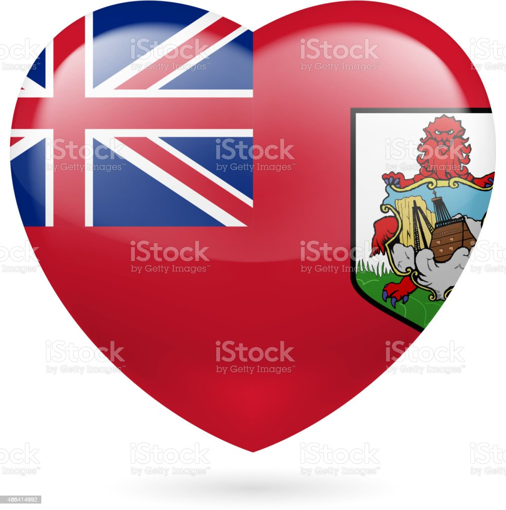 Heart icon of Bermuda vector art illustration
