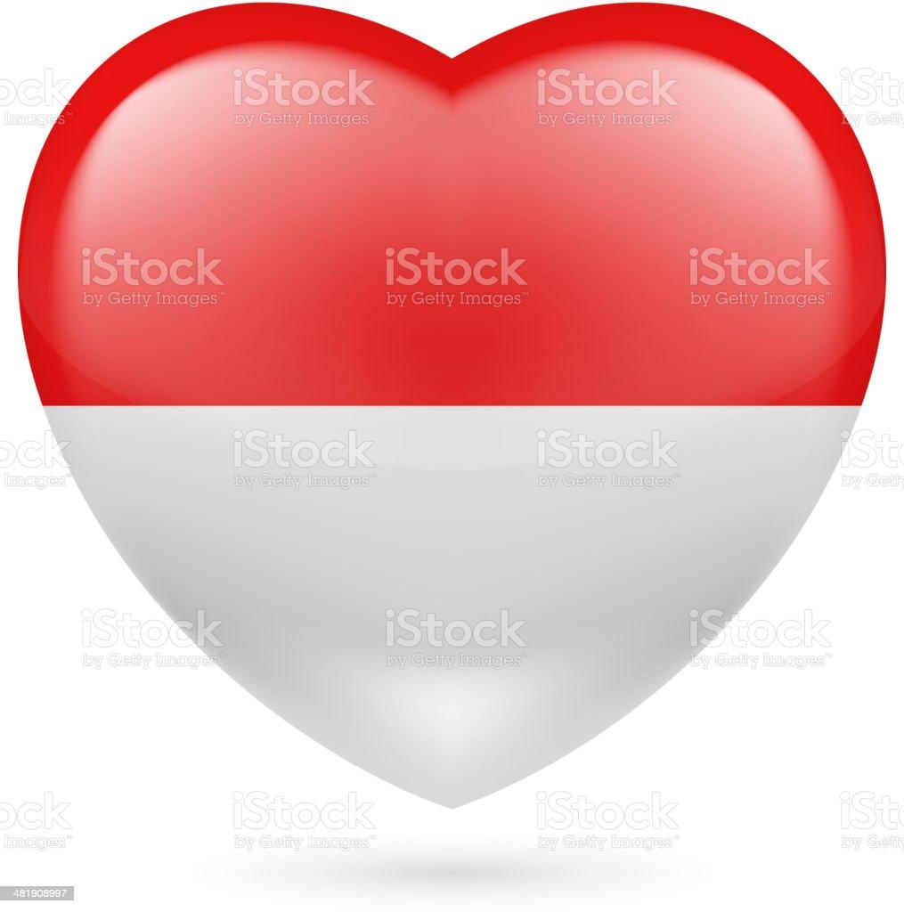 Heart icon of Monaco vector art illustration