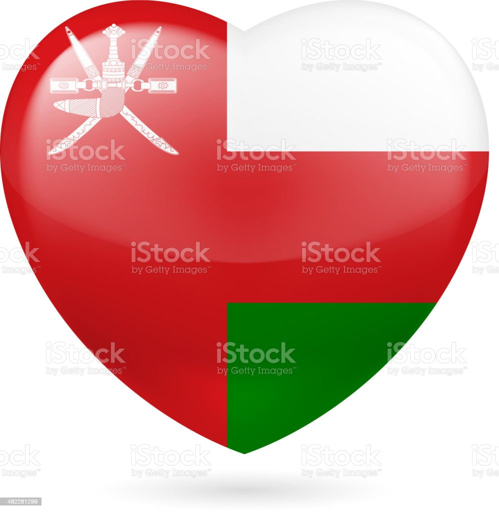 Heart icon of Oman vector art illustration