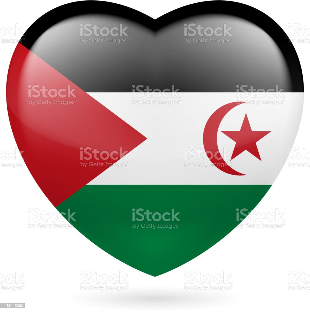 Heart icon of Sahrawi Arab Democratic Republic vector art illustration