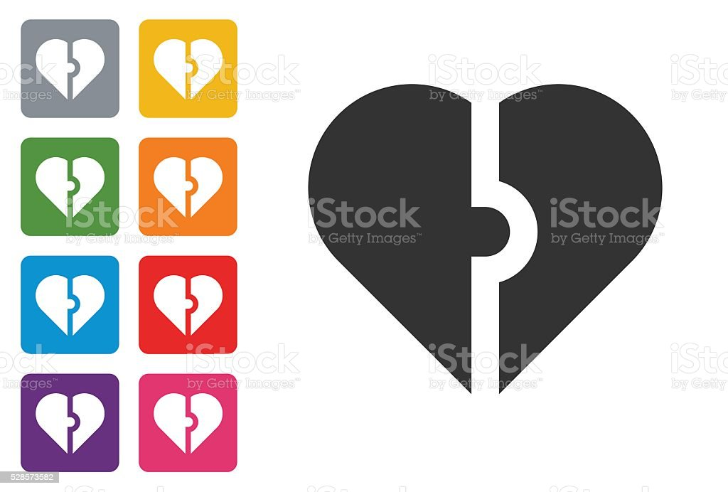 Heart icon on colored button stock photo