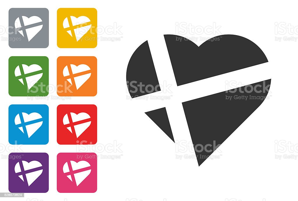 Heart icon on colored button vector art illustration