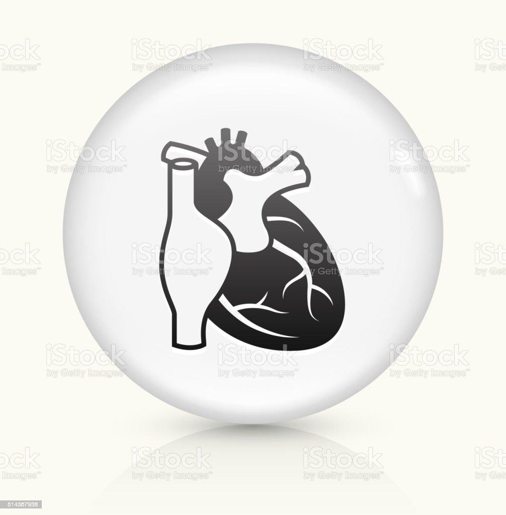 Heart icon on white round vector button vector art illustration