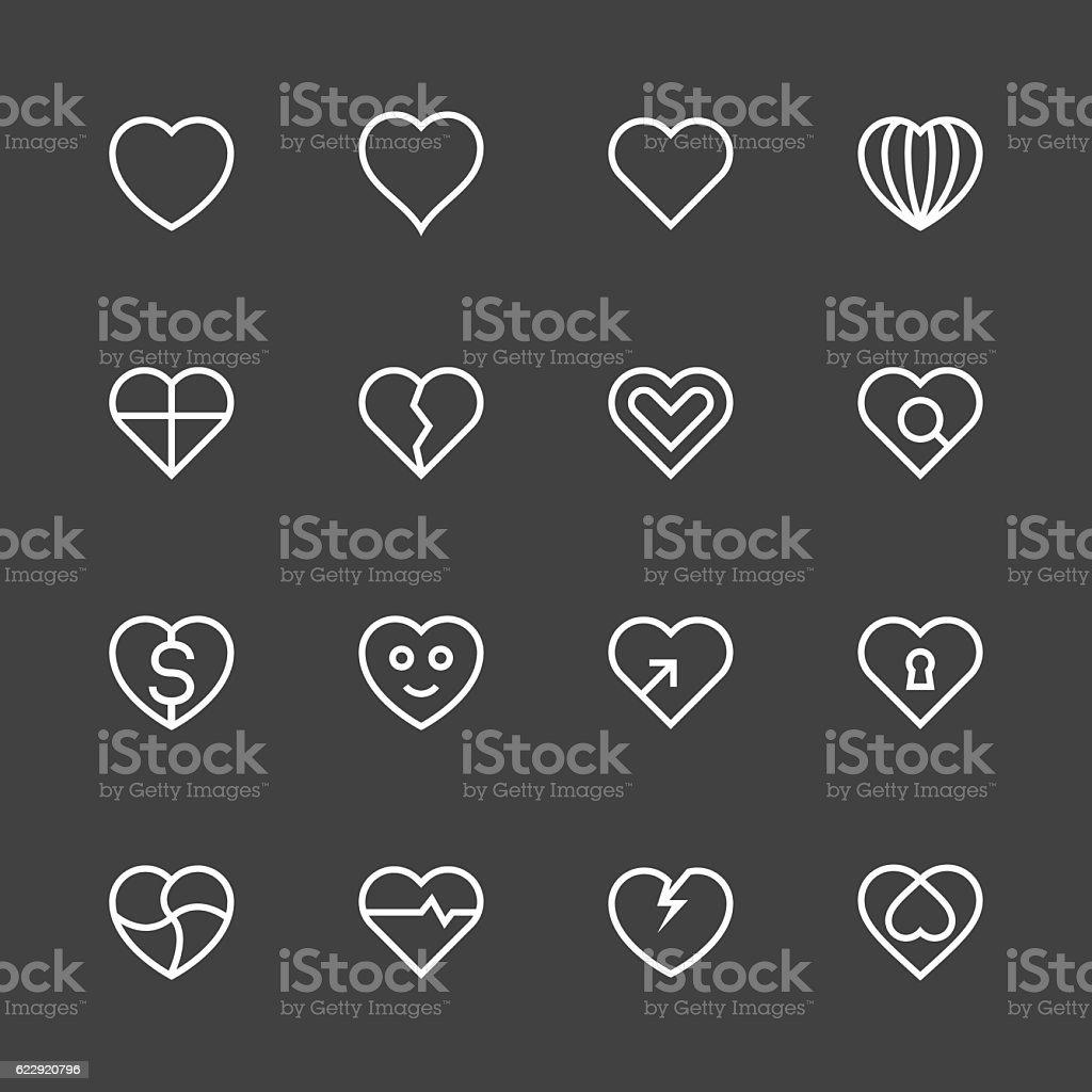 Heart Icon Set 1 - White Line Series vector art illustration