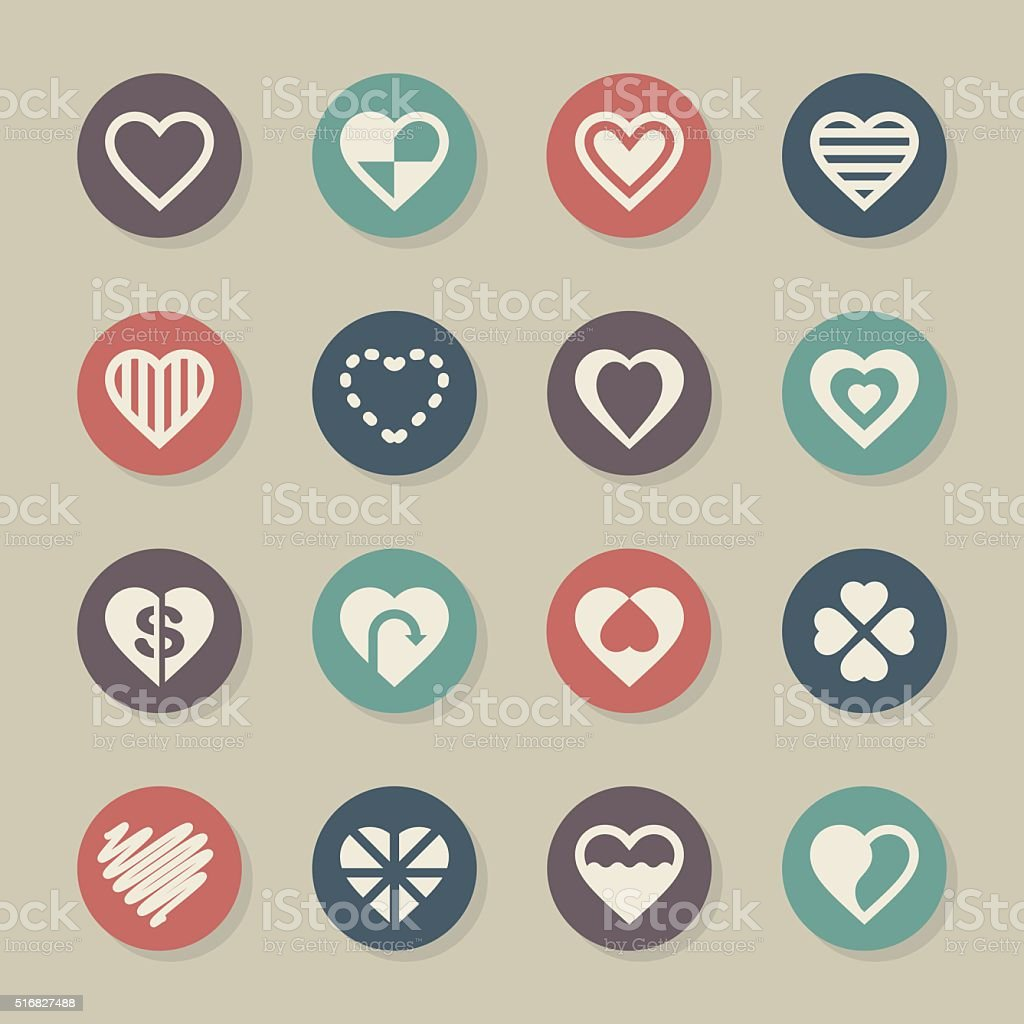 Heart Icon Set 3 - Color Circle Series vector art illustration