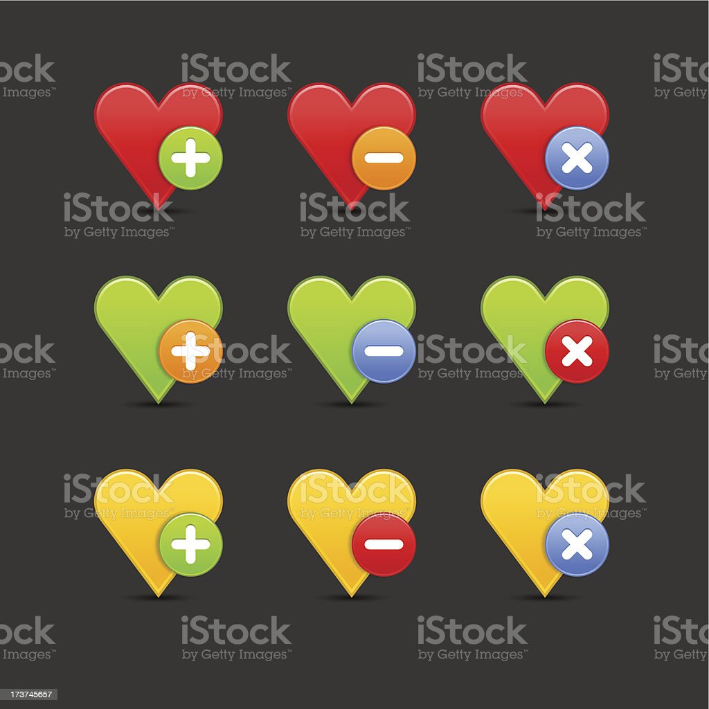 Heart icon set circle buttons plus minus delete gray background royalty-free stock vector art
