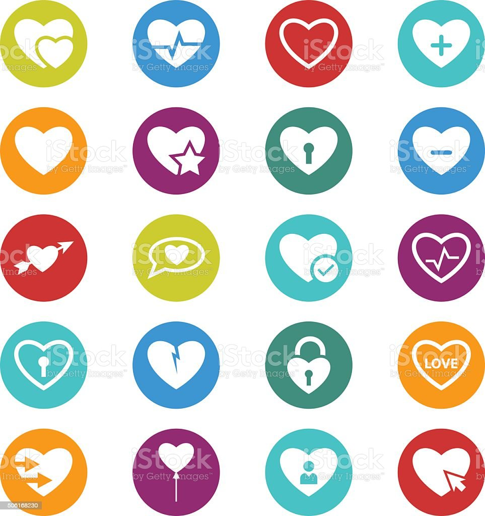 Heart icon set vector art illustration