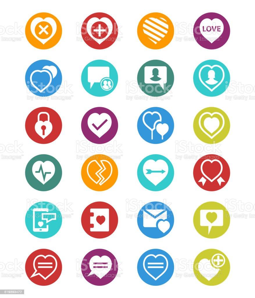 Heart icon set vector art illustration