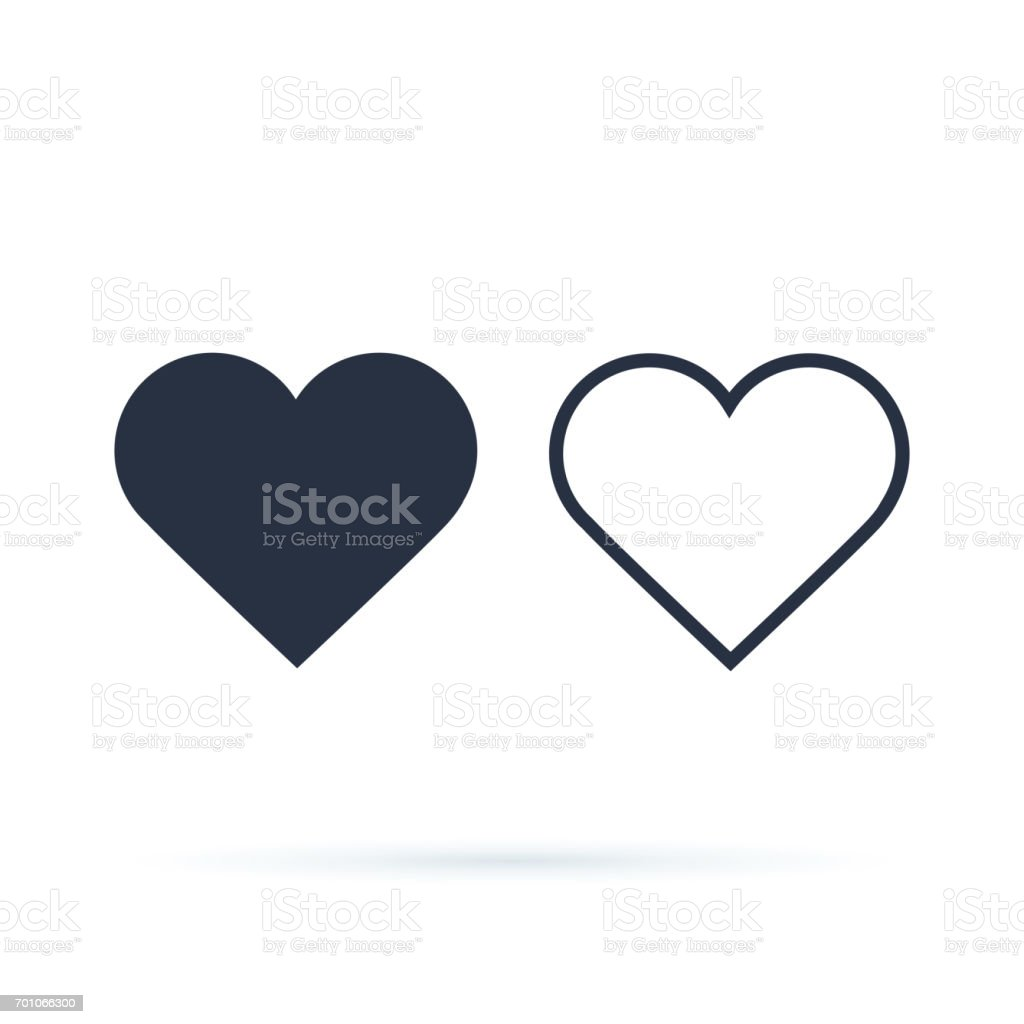 Heart Icon Vector. Outline and full hearts. Love symbol. Valentine's Day sign, emblem isolated on white background with shadow vector art illustration