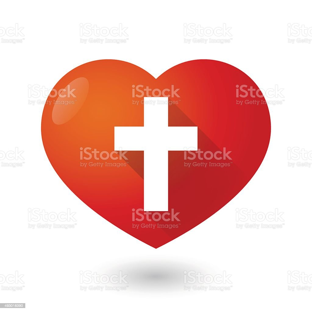 Heart icon with a cross vector art illustration