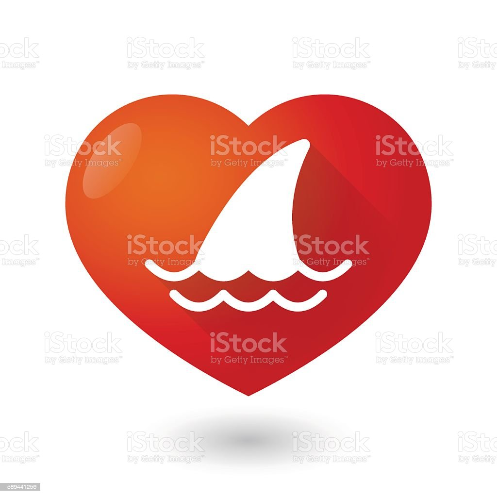 Heart icon with a shark fin vector art illustration