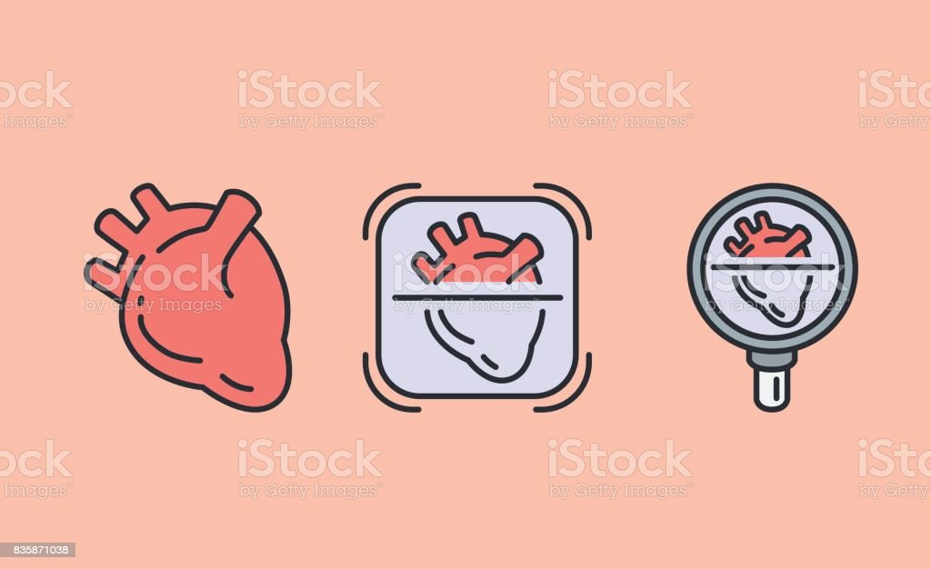 3 heart icon with Magnifying glass. vector art illustration