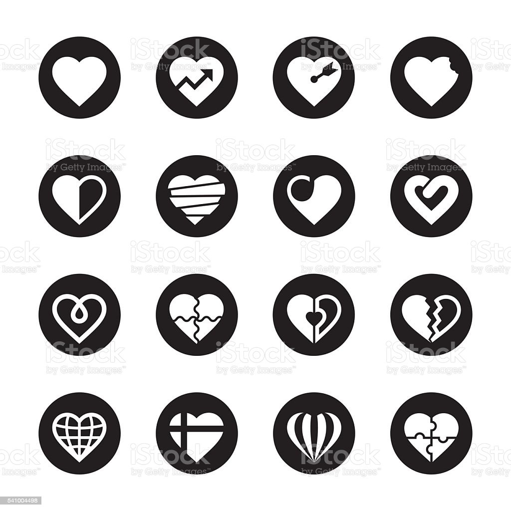 Heart Icons Set 2 - Black Circle Series vector art illustration