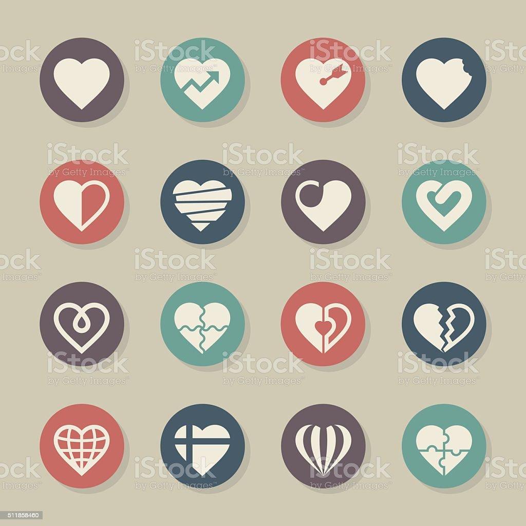 Heart Icons Set 2 - Color Circle Series vector art illustration