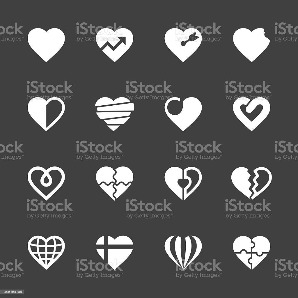 Heart Icons Set 2 - White Series vector art illustration