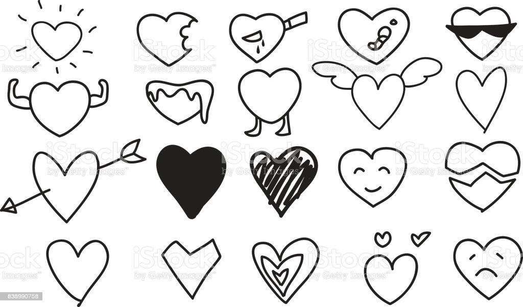 Heart Icons Set hand drawn vector line art cute  illustrations vector art illustration
