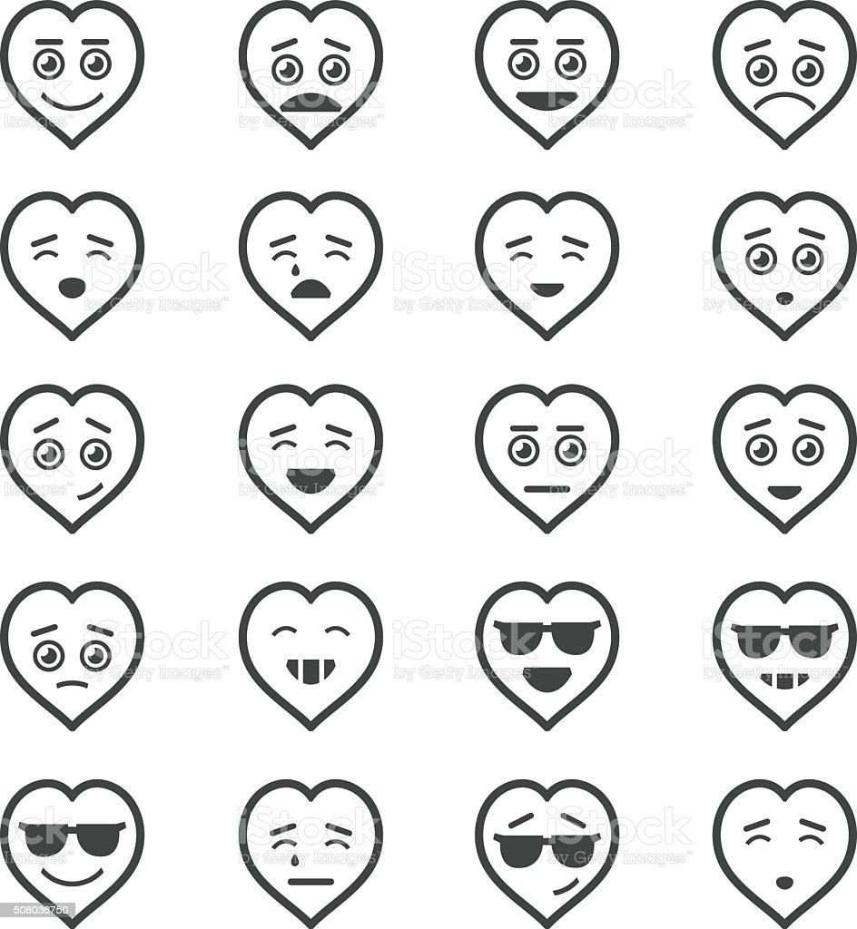 Heart icons set vector art illustration