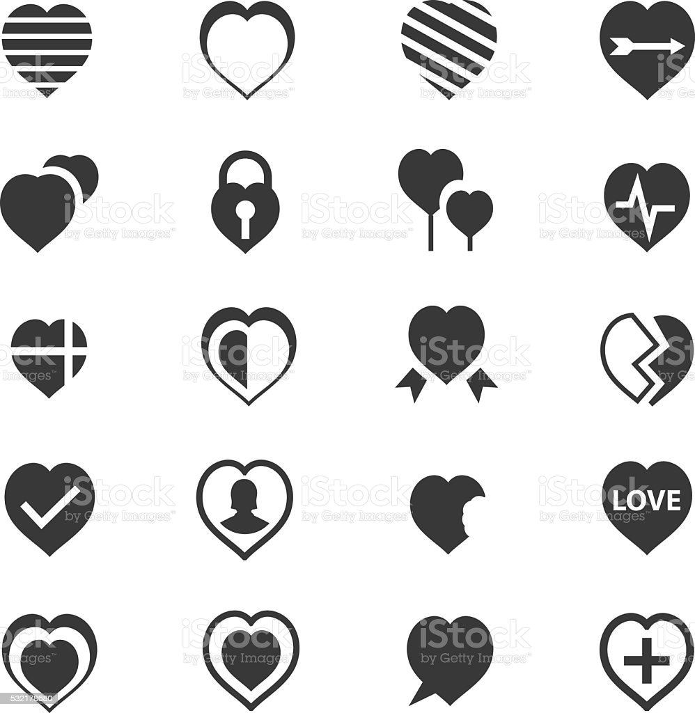 Heart icons set vector art illustration