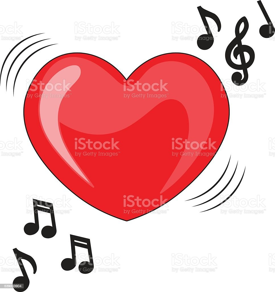 Heart illustration with music notes. vector art illustration