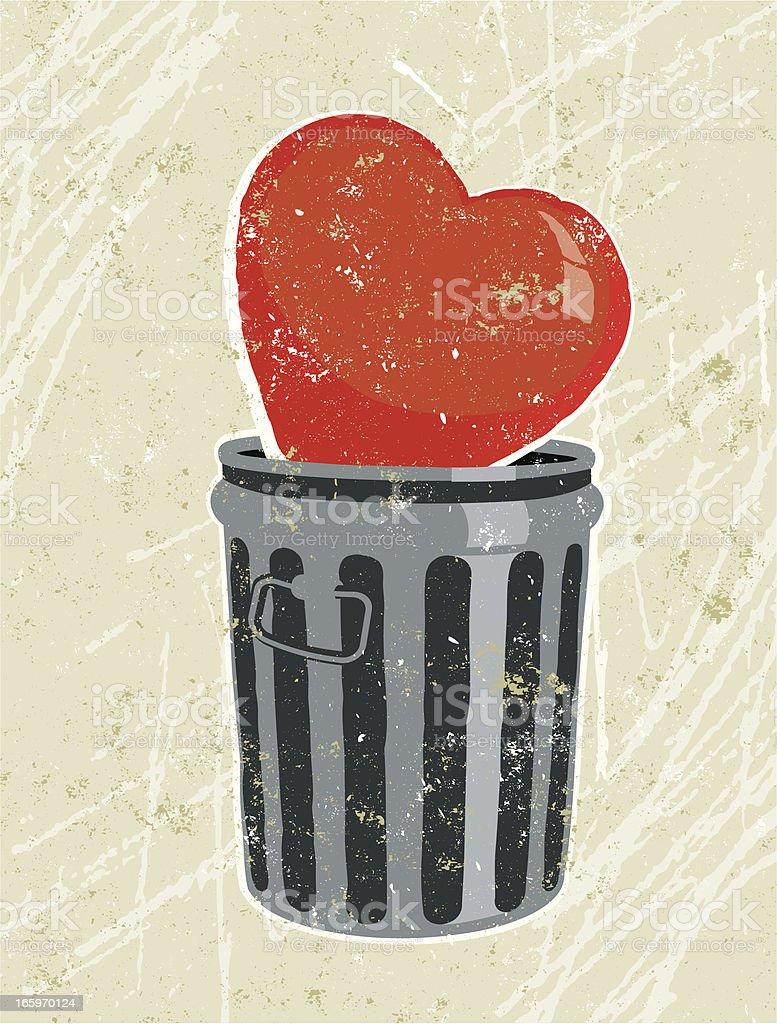Heart in a Rubbish Bin vector art illustration