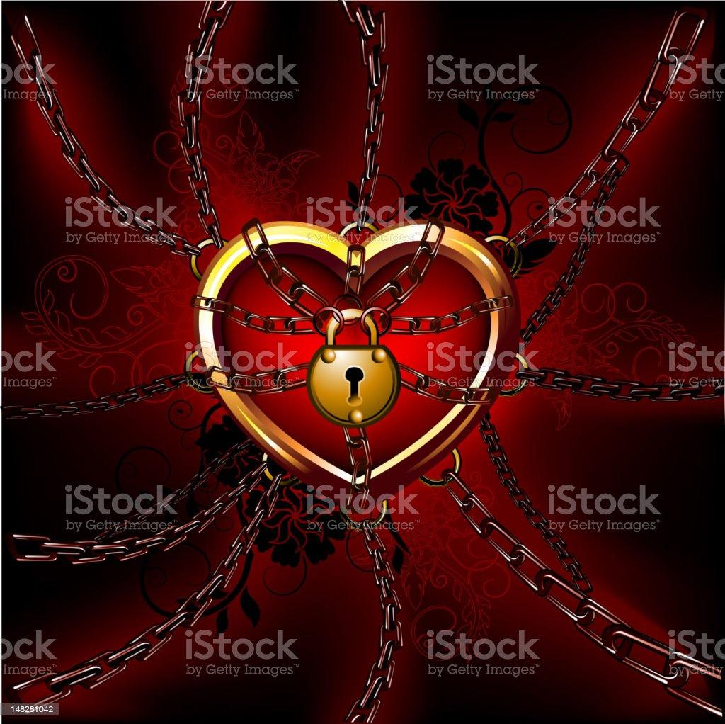 Heart in chains vector art illustration