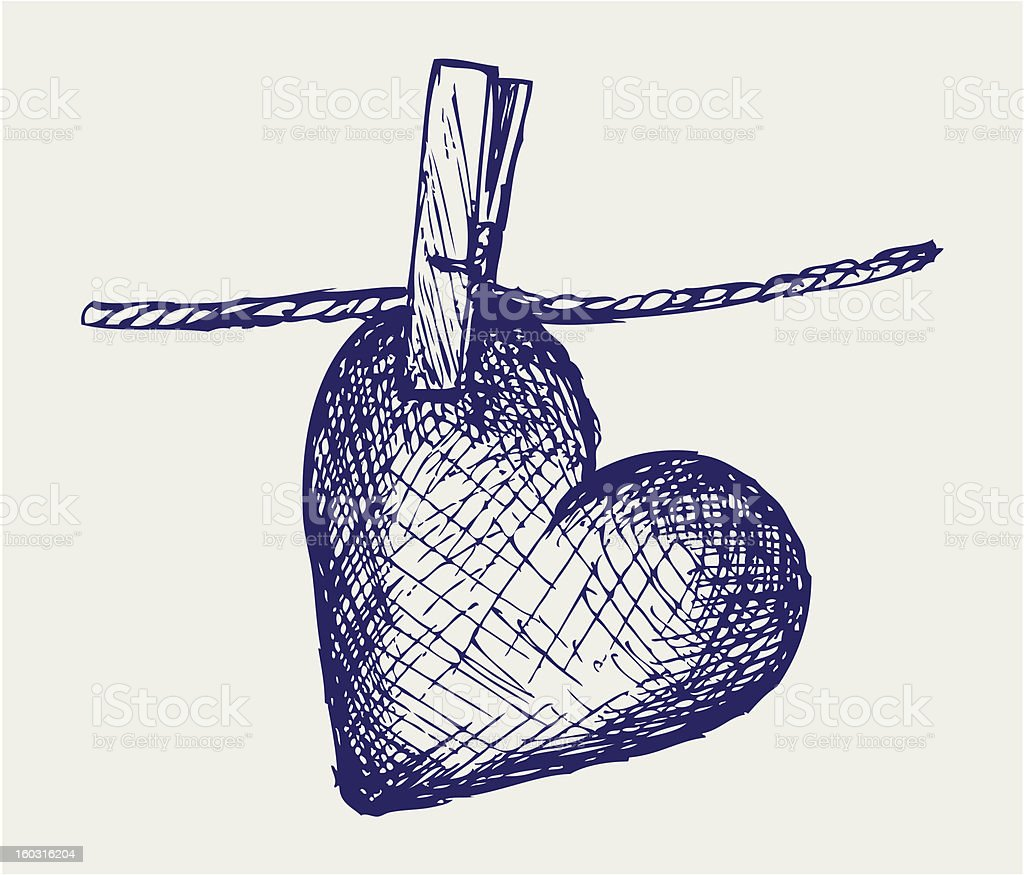 Heart in clothesline royalty-free stock vector art