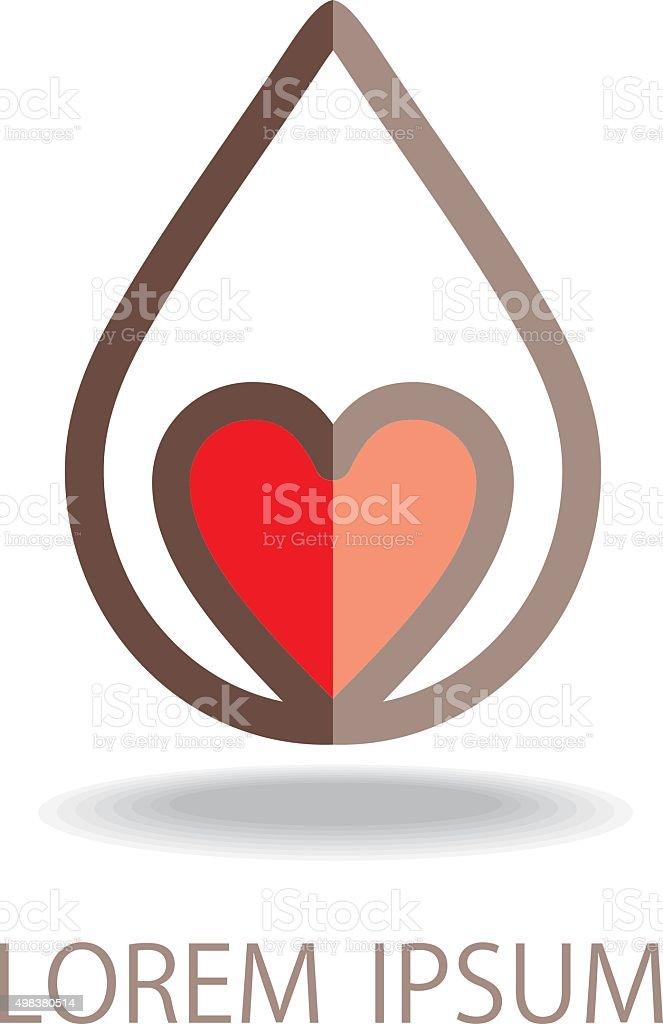 Heart in drop. vector art illustration