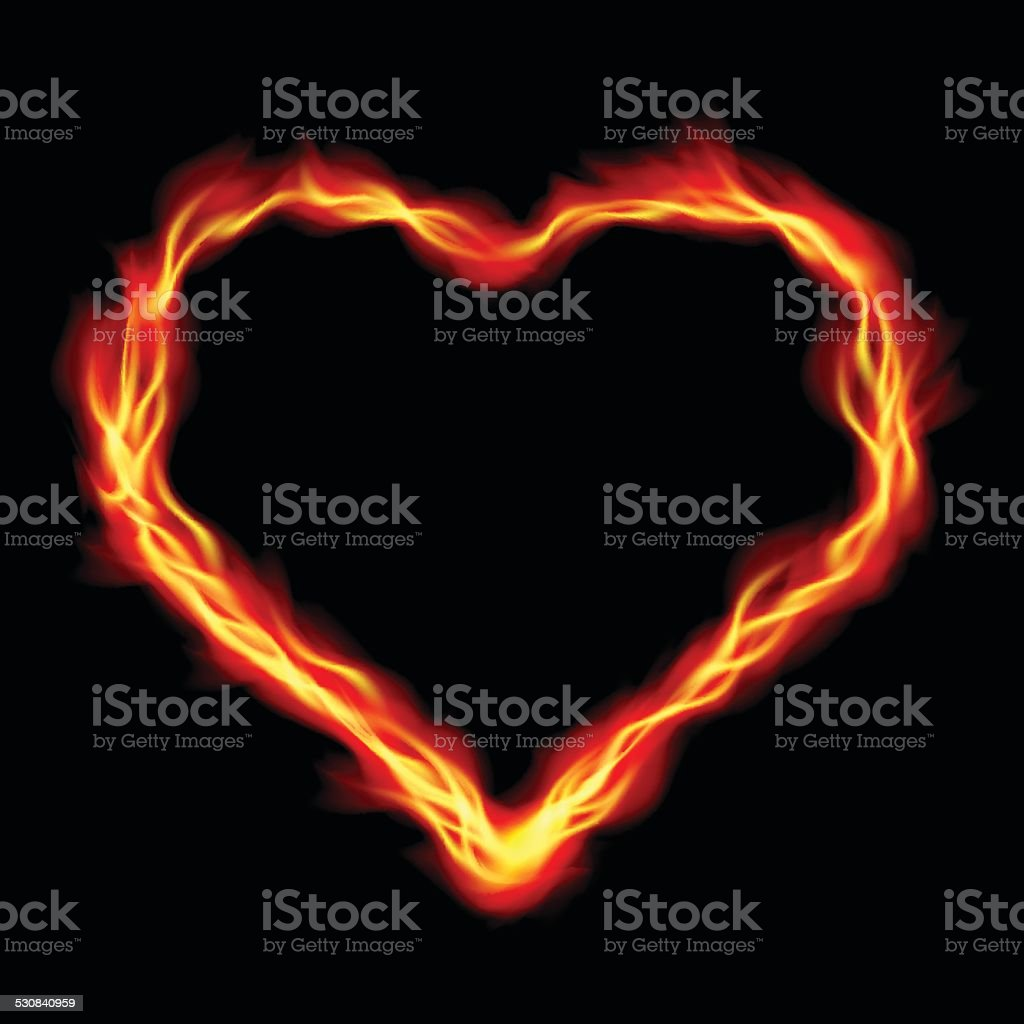 Heart in Fire, abstract background vector art illustration