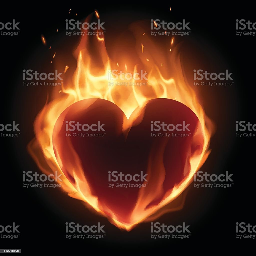 Heart in flame vector art illustration