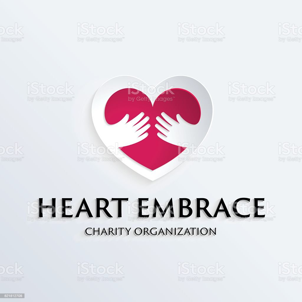 Heart in hands symbol logo template vector art illustration