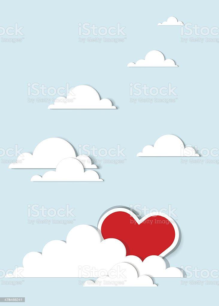 Coeur dans les nuages stock vecteur libres de droits libre de droits