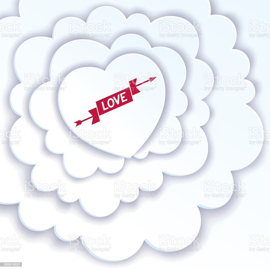 Heart in the clouds vector art illustration