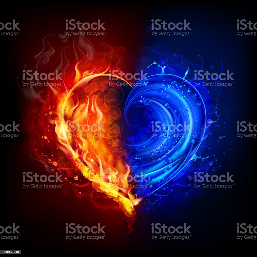 Heart in water and fire vector art illustration