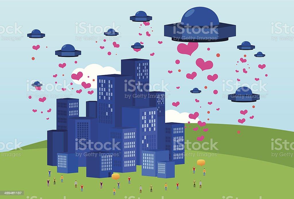 Heart invasion vector art illustration