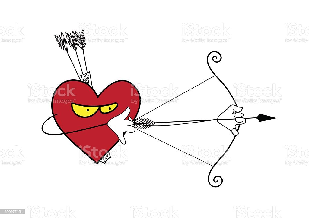 Heart is a lonely hunter. vector art illustration