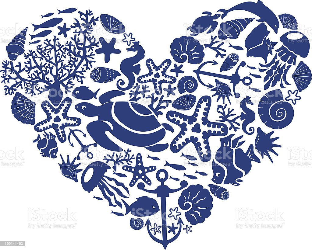 Heart is made of fishes, corals, shells, starfishes, etc. royalty-free stock vector art