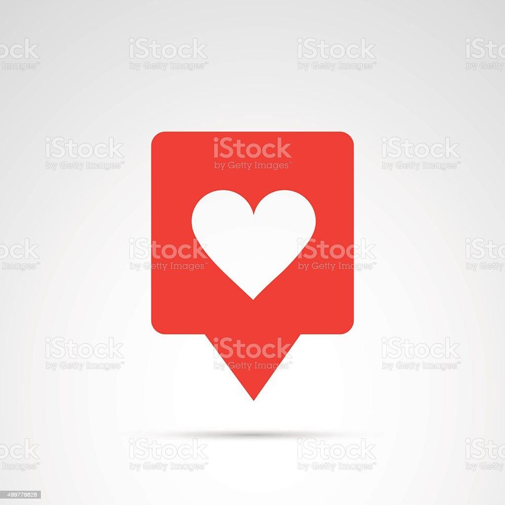 Heart, like - social media button. vector art illustration