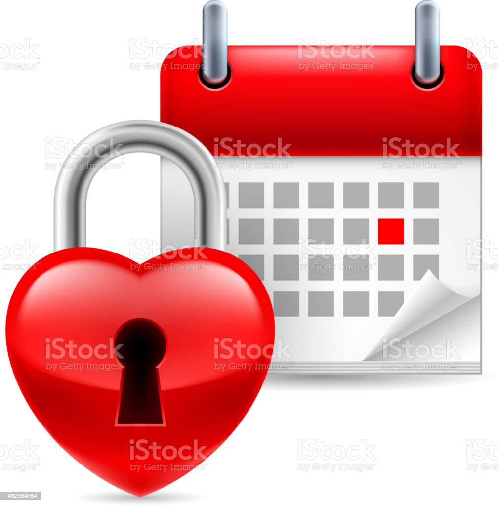 Heart lock and calendar vector art illustration