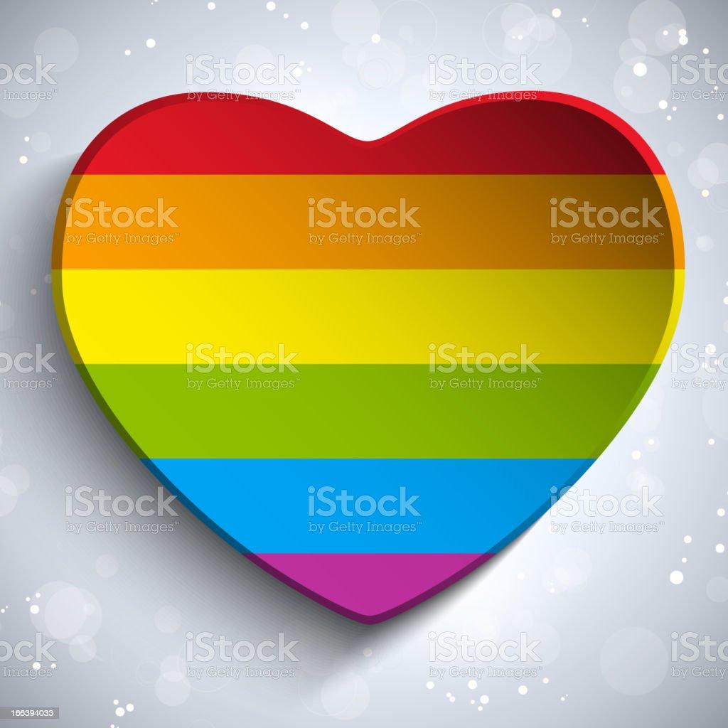 Heart Love Button Gay Flag vector art illustration