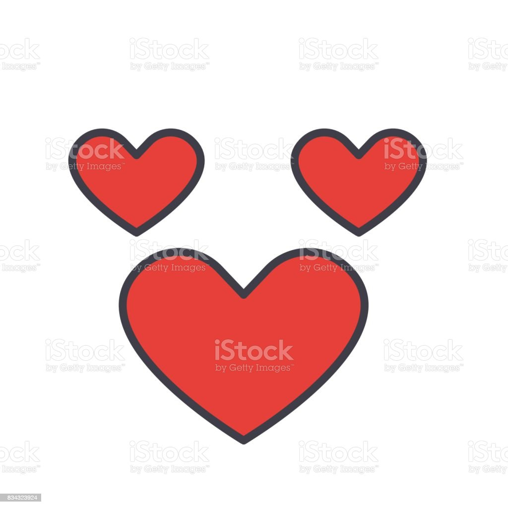 Heart, love concept. Line vector icon. Editable stroke. Flat linear illustration isolated on white background vector art illustration