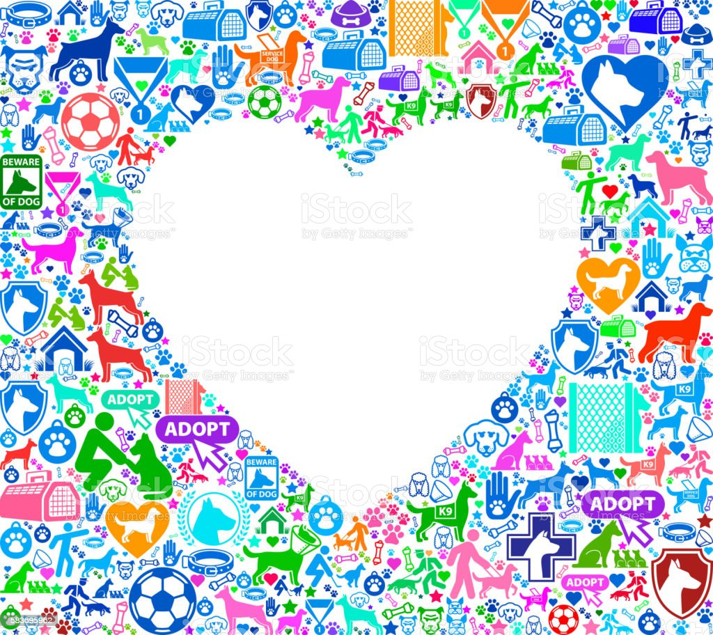 Heart Love Dog and Canine Pet Colorful Icon Pattern vector art illustration