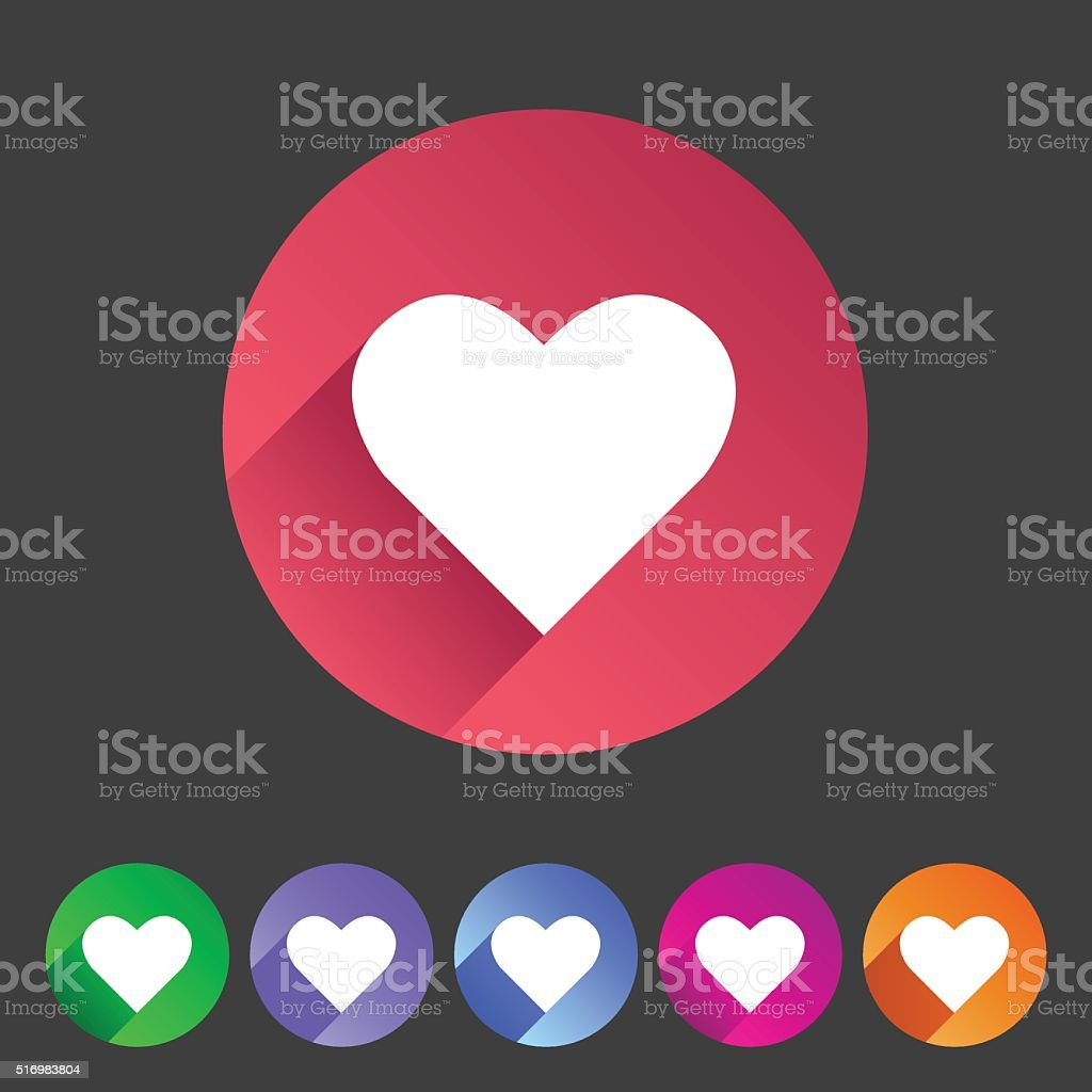 Heart, love icon flat web sign symbol logo label vector art illustration