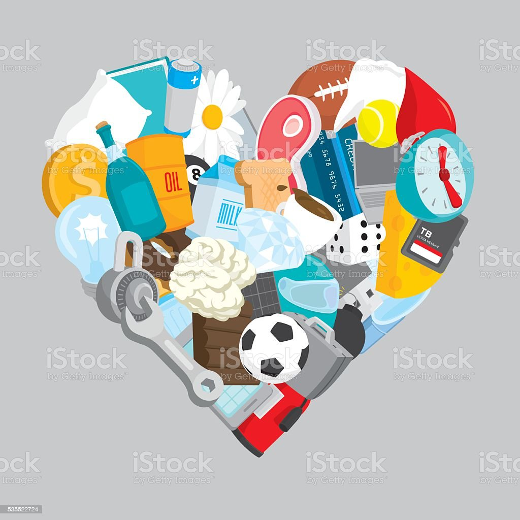 Heart loving many different objects vector art illustration