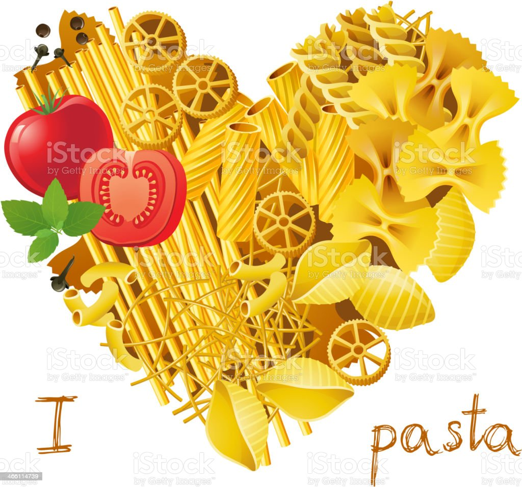 heart made from pasta vector art illustration