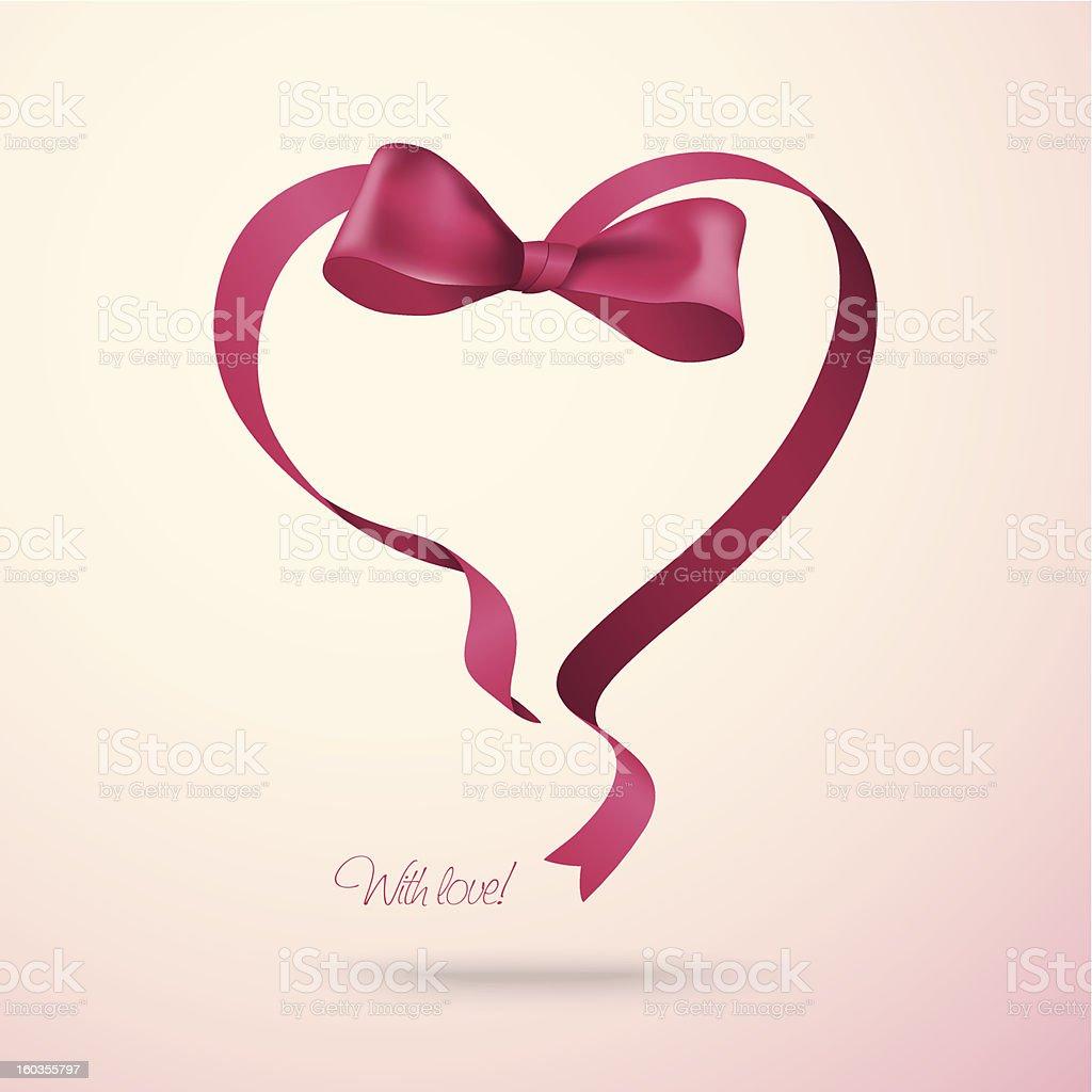 Heart made of ribbon royalty-free stock vector art