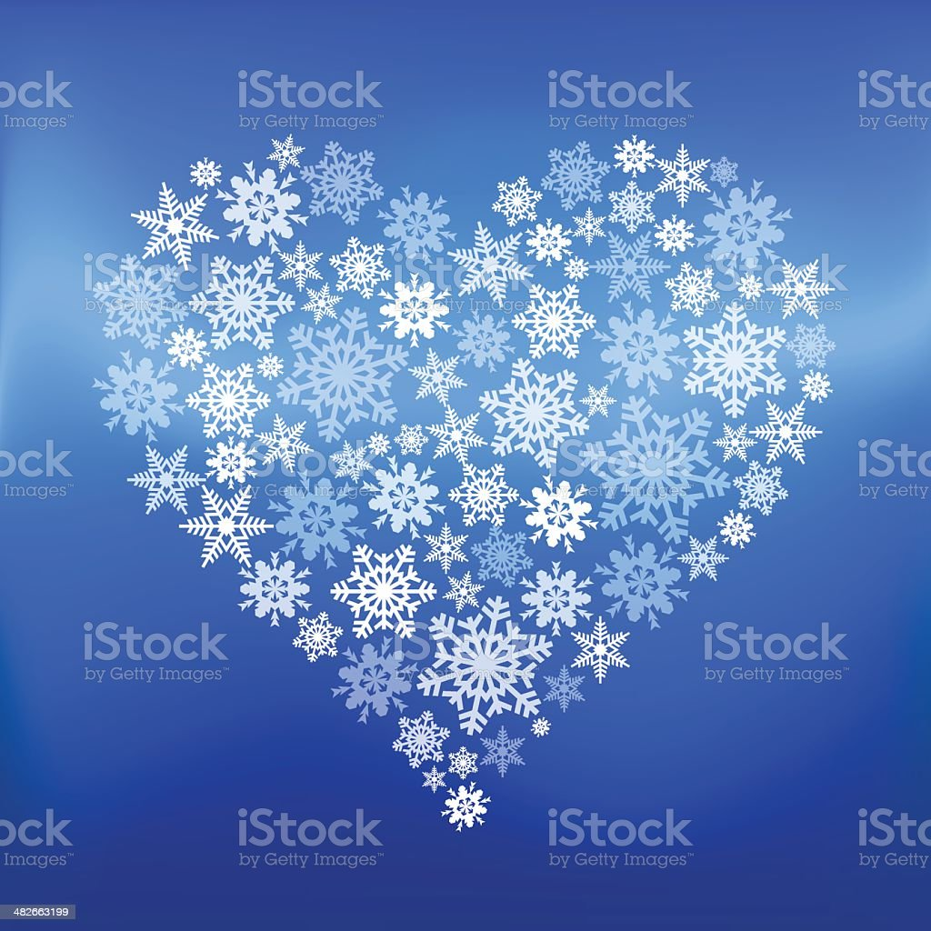 Heart made of snowflakes vector art illustration